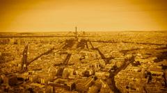 Paris high angle Skyline with Eiffel Tower Stock Footage