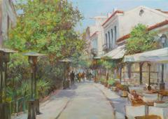 Streets of Athens ,Greece,handmade paintings - stock illustration