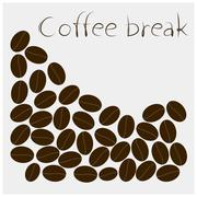 Icon coffee break with grains on a white background - stock illustration