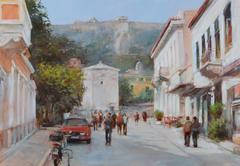 Streets of Athens ,Greece,handmade paintings Stock Illustration