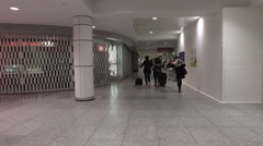 Smooth Slow Motion Steadicam Shot At Montreal's Airport Stock Footage
