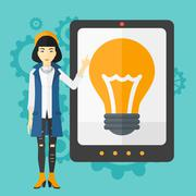 Woman pointing at tablet computer with light bulb on screen - stock illustration