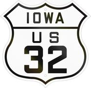 Historic Iowa Highway Route shield from 1926 used in the US Stock Illustration