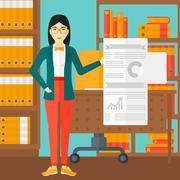 Woman presenting report - stock illustration
