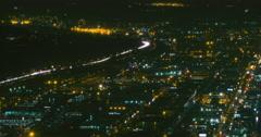 Birds Eye View Time-Lapse of South Seattle, Washington at Night Stock Footage