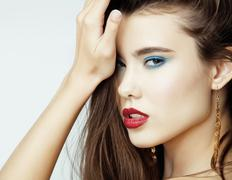 Sexy Beauty Girl with Red Lips and Nails. Provocative Make up. Luxury Woman with - stock photo
