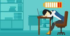 Employee sleeping at workplace - stock illustration