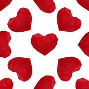 hearts low poly seamless - stock illustration