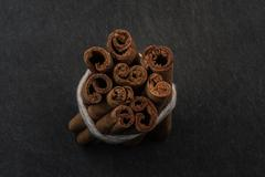 Bundle of Cinnamon Sticks View from Top - stock photo