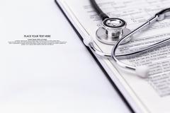 Test medical examination and Stethoscope Stock Photos