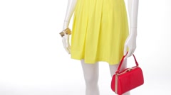 Casual yellow dress on mannequin. Stock Footage