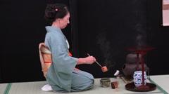 Japanese tea ceremony - stock footage