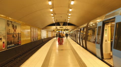 Time Lapse of Busy Subway Station Platform-  Stockholm Sweden Stock Footage