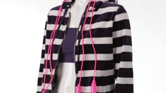Mannequin in striped hoodie turning. Stock Footage