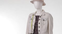 Female mannequin in jacket turning. Stock Footage
