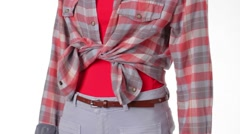 Mannequin in checkered shirt turning. Stock Footage