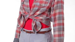 Rotating mannequin wearing checkered shirt. - stock footage