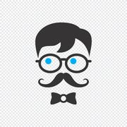 geek cartoon character - stock illustration
