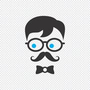 Geek cartoon character Stock Illustration