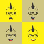 geek cartoon character - stock illustration