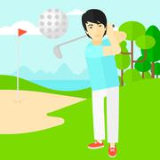 Golf player hitting the ball Stock Illustration
