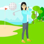 Golf player hitting the ball Stock Illustration