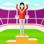Athlete with medal and hands raised - stock illustration