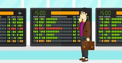 Stock Illustration of Man looking at schedule board