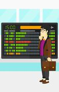 Man looking at schedule board Stock Illustration