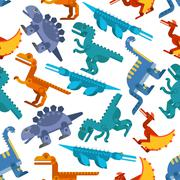 Colorful seamless pattern of jurassic dinosaurs - stock illustration