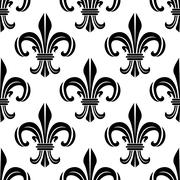 Victorian royal fleur-de-lis seamless pattern - stock illustration