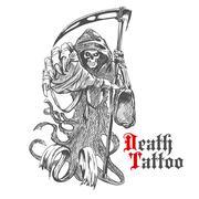 Grim reaper sketch with skeleton in cape - stock illustration