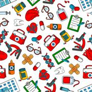 Seamless medical checkup and testing pattern - stock illustration
