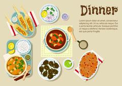 Fresh prepared weekend dinner flat icon - stock illustration