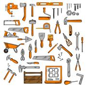 Sketched tools for building, carpentry, shoemaking Stock Illustration