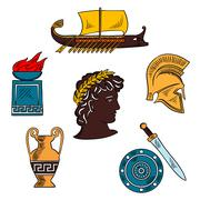 Art and history of ancient Greece colorful sketch - stock illustration