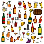 Alcohol drinks, cocktails with snacks sketch icon - stock illustration