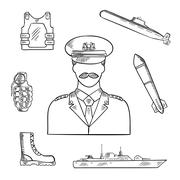 Military man with army symbols sketch icon Stock Illustration