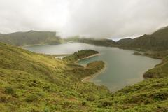 Azores landscape of Sao Miguel Island lake Stock Photos
