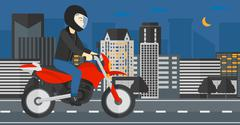 Man riding motorcycle Stock Illustration