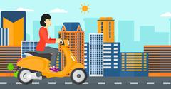 Woman riding scooter - stock illustration