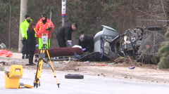 Toronto police at fatal car accident and crash scene that killed three v11 Stock Footage
