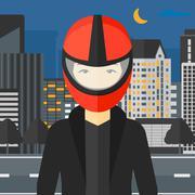 Woman in biker helmet - stock illustration