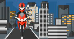 Woman riding motorcycle Stock Illustration