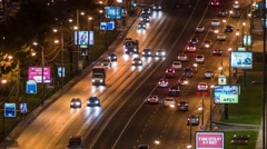 Traffic on the highway, New Arbat street, Moscow, Russia Stock Footage