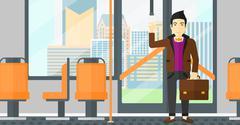 Man standing inside public transport - stock illustration