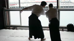 Japanese Aikido Warrior Dojo men - stock footage