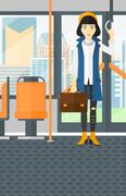 Stock Illustration of Woman standing inside public transport