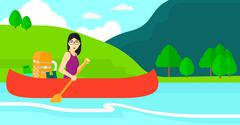 Woman canoeing on the river - stock illustration