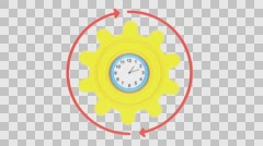 3d rendered animation of clock, gear and arrows rotating - stock footage
